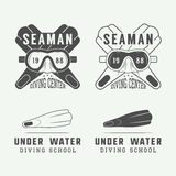Set of diving logos, labels and slogans in vintage style. Royalty Free Stock Photography