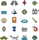 Set of diving related icons Stock Photos