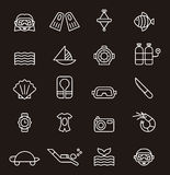 Set of diving related icons Royalty Free Stock Photography