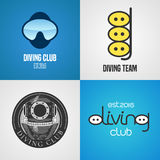 Set of diving, snorkeling vector icons, sign, symbol, emblem, logo. Graphic design elements with golden trophy, snorkel tune for diving club, divers Royalty Free Stock Images