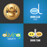 Set of diving, snorkeling vector icons, sign, symbol, emblem, logo. Graphic design elements with golden trophy, snorkel tune for diving club, competition Royalty Free Stock Photo