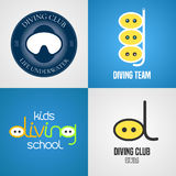 Set of diving, snorkeling vector icons, sign, symbol, emblem, logo Royalty Free Stock Photo