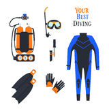 Set for diving sports.  .kostyum immersion in water, Balon air . Vector illustration Stock Images