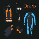 Set for diving sports. .kostyum immersion in water, Balon air . Vector illustration Stock Photo