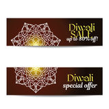 Set of Diwali big sale banners. Indian festival of lights. Flyers with gold glitter shiny text and floral mandalas. Special discount offer. Realistic gold Royalty Free Stock Image
