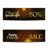 Set of Diwali big sale banners. Indian festival of lights. Flyers with gold glitter shiny text and floral mandalas. Special discount offer. Realistic gold Royalty Free Stock Photo