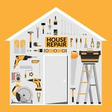 Set of DIY home repair working tools vector logo design template Stock Photography