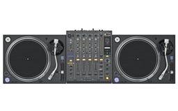 Set dj music mixer table, top view Royalty Free Stock Photography