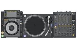 Set dj music mixer table, top view Royalty Free Stock Photos