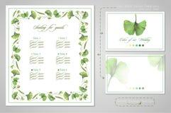 Set dla ślubnego druku: miejsca siedzące dla gości lub zaproszenia, karta dla kodu ubioru royalty ilustracja
