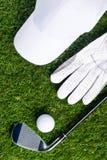 Set dla bawić się golfa kłama na zielonym gazonie obraz stock