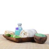 Set dla procedur na bambusowym dywaniku Zdjęcie Royalty Free