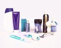 Set dla ranek higieny Pasta do zębów, muśnięcie, mydło, balsam, zębu th Zdjęcia Royalty Free