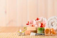 Set dla relaksu i zdrój skóry opieki zdjęcia stock