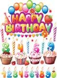 Set dla Urodzinowych kart Zdjęcie Royalty Free