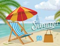 Set dla wakacje projekta - bryczki longue, plażowi kapcie, plażowa torba, parasolowy chronienie od słońca plażowego Brighton krze ilustracji
