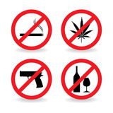 Set of do not allowed symbols Royalty Free Stock Images