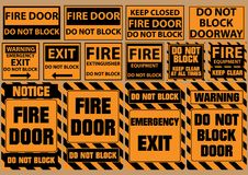 Set of do not block door for emergency purposes (warning, notice, safety) Stock Images
