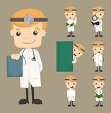 Set of doctor characters poses Stock Photography