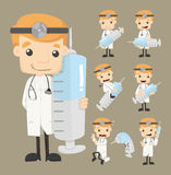 Set of doctor characters poses Royalty Free Stock Photography