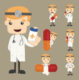 Set of doctor characters poses with the pill Royalty Free Stock Image