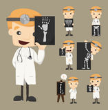 Set of doctor characters with x-ray, ultrasound Stock Photo