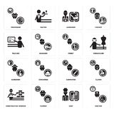 Set of Doctor, Chef, Construction worker, Carpenter, Gardener, Priest, Teacher, Professor icons. Set Of 16 simple  icons such as Doctor, Chef, Farmer Stock Photography