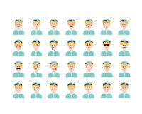 Set of doctor emoticon vector isolated on white background. vector illustration