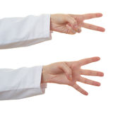 Set of doctor female hand over white isolated background Royalty Free Stock Photo