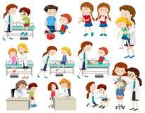 Set of doctor helping sick children stock illustration