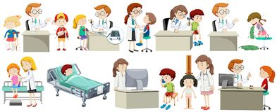 A Set of Doctor and Kid. Illustration Stock Photography