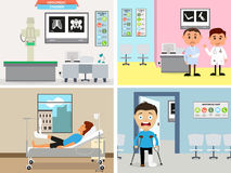 Set of doctors workplace with cartoon doctor and patient. Stock Image