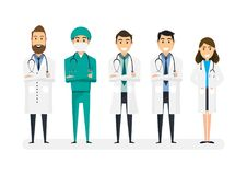 Set of doctors characters isolated on white background. Medical team concept in illustration design royalty free illustration