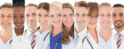 Set Of Doctors. Set Of Happy Male And Female Doctors royalty free stock photos