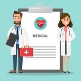 Set of doctors holding first aid box and nurse characters. Medical team concept with paper info. vector illustration design vector illustration