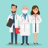 Set of doctors holding first aid box and nurse characters. Set of doctors and nurse characters. Medical team concept in vector illustration design vector illustration