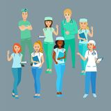 Set of doctors. Medical workers. The students. Profession. Vector isolated objects Royalty Free Stock Photos