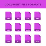 Set of Document File Formats and Labels in flat icons style. Vector illustration royalty free illustration