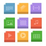Set of Document File Formats and Labels icons. Vector illustration Stock Images
