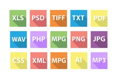 Set of Document File Formats with long shadows. In flat style Royalty Free Stock Images