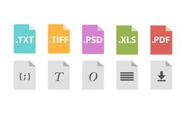 Set of Document File Formats. In flat style Royalty Free Stock Photos