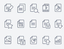 Set of 15 Document icons. Document icons. Thin lines. Flat design Stock Illustration