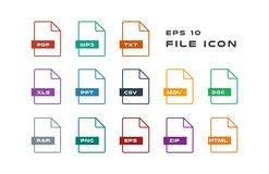Set of Document Labels and File Formats Icons. PDF, MP3, TXT, XLS, PPT, CSV, MOV, DOC, RAR, PNG, EPS, ZIP, HTML. Vector. Flat computer monitor, laptop, tablet Stock Photography
