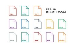 Set of Document Labels and File Formats Icons. PDF, MP3, TXT, XLS, PPT, CSV, MOV, DOC, RAR, PNG, EPS, ZIP, HTML. Vector. Flat computer monitor, laptop, tablet Stock Image