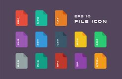 Set of Document Labels and File Formats Icons. PDF, MP3, TXT, XLS, PPT, CSV, MOV, DOC, RAR, PNG, EPS, ZIP, HTML. Vector. Flat computer monitor, laptop, tablet Stock Photo