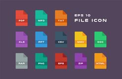 Set of Document Labels and File Formats Icons. PDF, MP3, TXT, XLS, PPT, CSV, MOV, DOC, RAR, PNG, EPS, ZIP, HTML. Vector. Set of Document Labels and File Formats Royalty Free Stock Photos