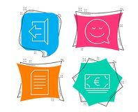Document, Sign out and Smile icons. Euro currency sign. Information file, Logout, Chat emotion. Eur banking. stock illustration