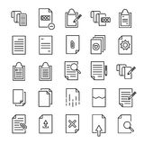 Set of 25 document thin line icons. High quality pictograms of file. Modern outline style icons collection. Data, bureaucracy, paper, business, etc Stock Image