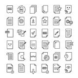 Set of 49 document thin line icons. Set of 36 document thin line icons. High quality pictograms of file. Modern outline style icons collection. Data, bureaucracy Royalty Free Illustration