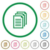 Documents outlined flat icons. Set of documents color round outlined flat icons on white background Stock Photos